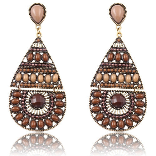 New Fashion Earrings Vintage Ethnic Style Colorful Bohemian Beads Stud Earrings Jewelry for Women  Brown 12L23