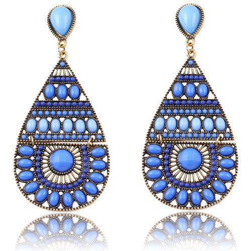 New Fashion Earrings Vintage Ethnic Style Colorful Bohemian Beads Stud Earrings Jewelry for Women  Blue 12L25