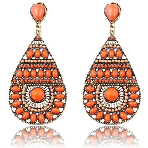 New Fashion Earrings Vintage Ethnic Style Colorful Bohemian Beads Stud Earrings Jewelry for Women  Orange 12L22
