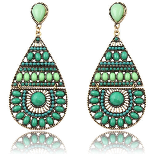 New Fashion Earrings Vintage Ethnic Style Colorful Bohemian Beads Stud Earrings Jewelry for Women  Green 12L21