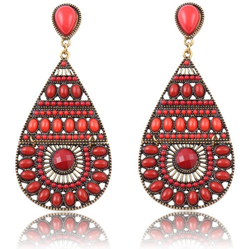 New Fashion Earrings Vintage Ethnic Style Colorful Bohemian Beads Stud Earrings Jewelry for Women  Red  12L20