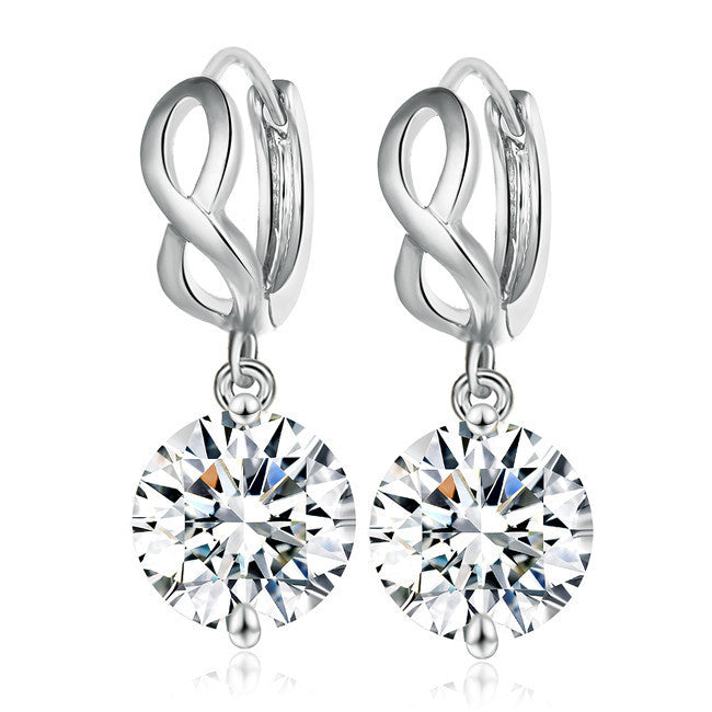Crystal Infinity Dangle Earrings for Women Water Drop Wedding Earrings EJ13425