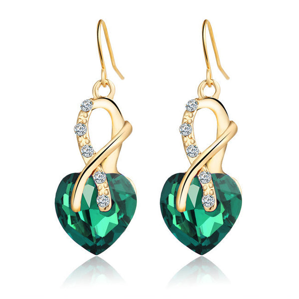 4 Colors Fashion Crystal Blue Heart  Drop Earrings for Women Punk Gold Plated Long