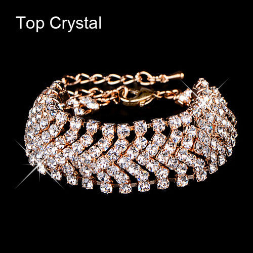 Bride wedding crystal jewelry Shiny rhinestone Wide Bracelet for women Gold  62A36