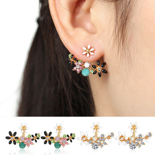 Cute Fashion Gold Color Crystal Stud Earrings  Bijoux Women Earrings