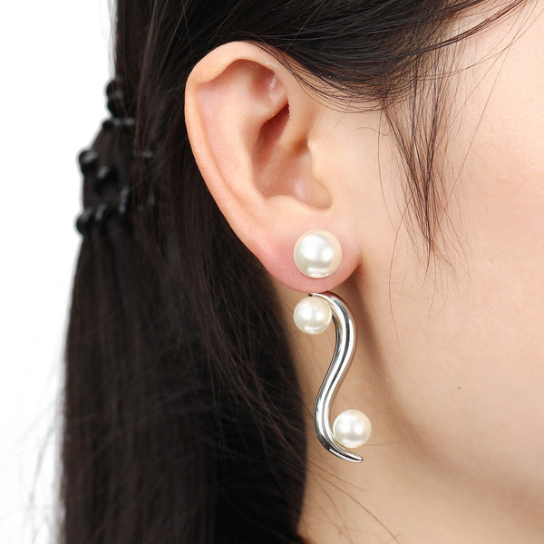 Double Ball Earrings for Women Simulated Pearl Stud Earring Punk Charm Wedding Earrings