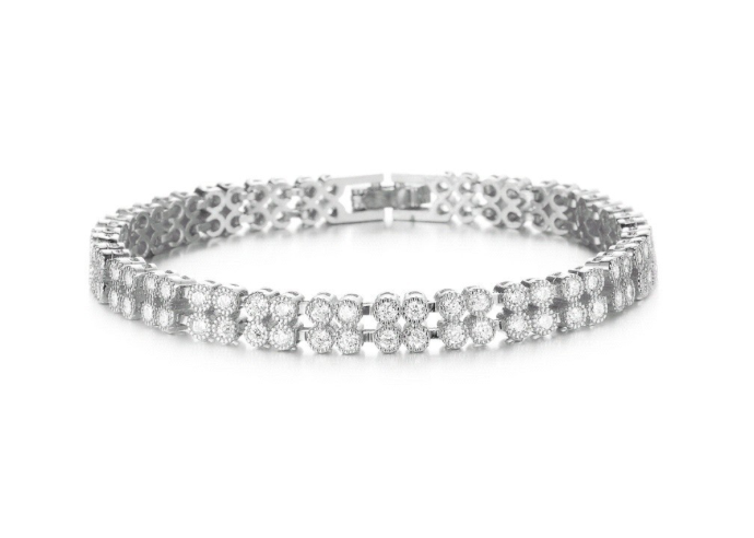 Two Layers AAA+ Cubic Zircon Platinum Plated Bracelet