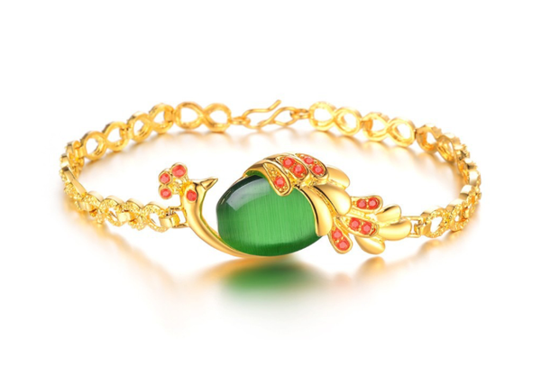 Ethnic Peacock Bracelet 18K Gold Plated Green Stone