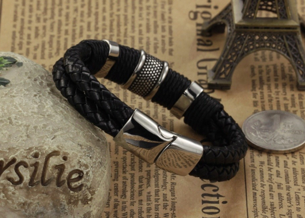 Handmade Genuine Leather Weaved Double Layer Man Bracelets