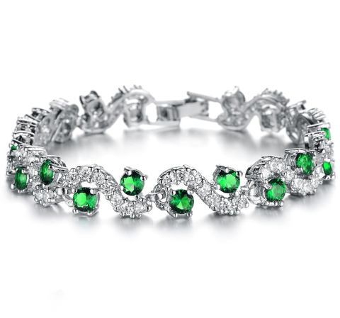 Platinum Plated Green Crystal Stone Bracelets
