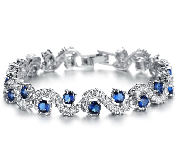Blue Crystal Stone Platinum Plated  Bracelets