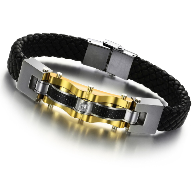 Genuine leather Bracelet stainless steel with Carbon fiber