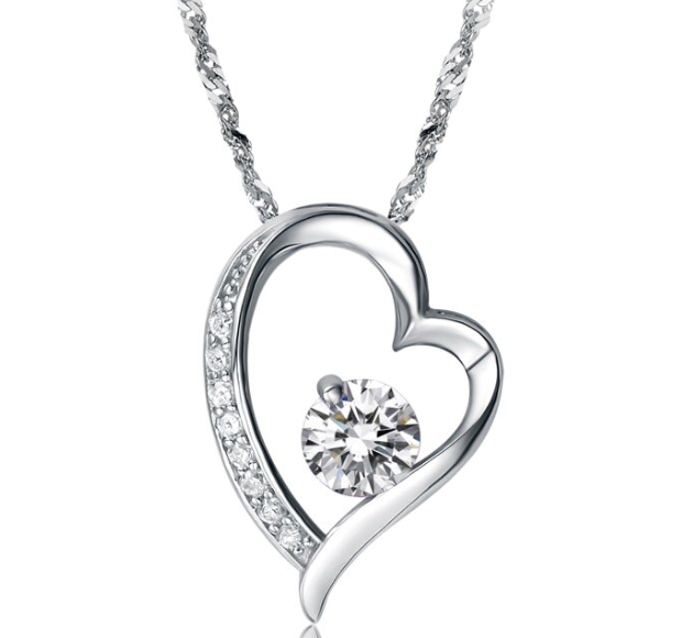 White Gold heart Crystal pendant
