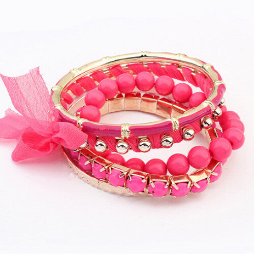 Luxury elegant gem beads lace Bangles High-quality multi-round exaggerated punk jewelry  red 61I43