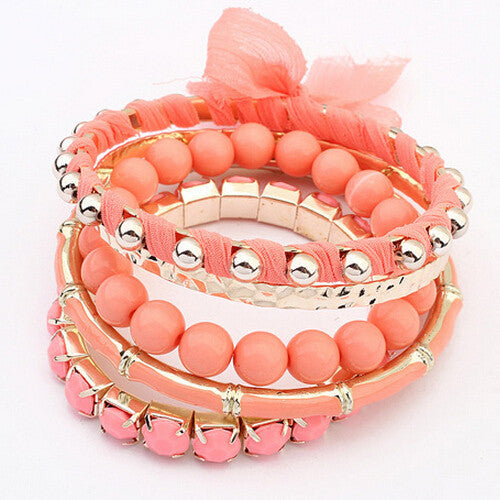 Luxury elegant gem beads lace Bangles High-quality multi-round exaggerated punk jewelry  pink 61I45