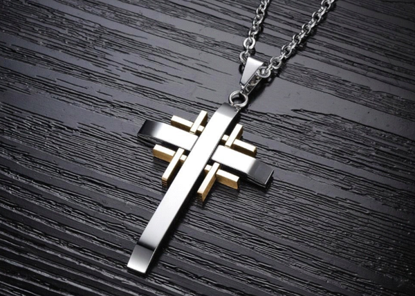 Cross Pendant Stainless Steel Necklace Chain Gold