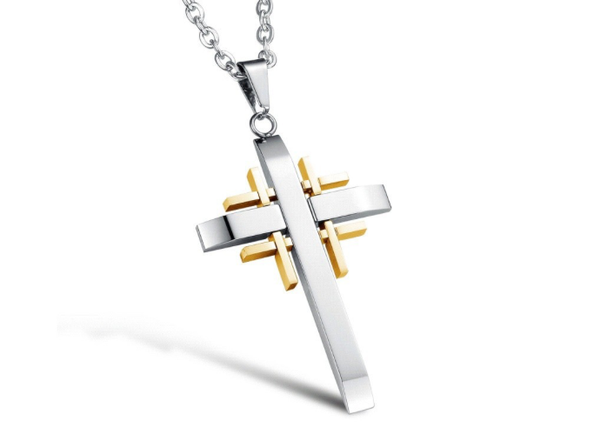 Balck Cross Pendant Stainless Steel Necklace Chain