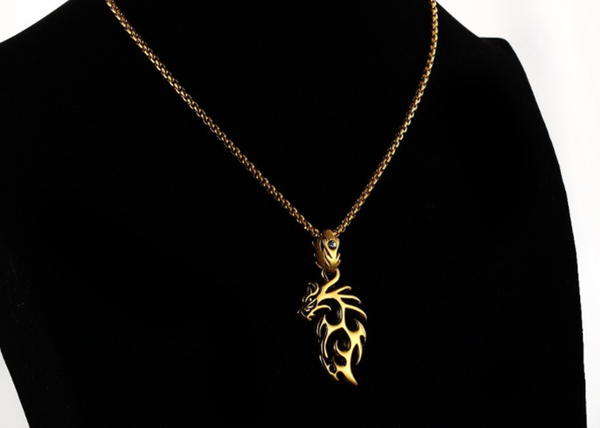 Silver Dragon Pendant Necklace Chain