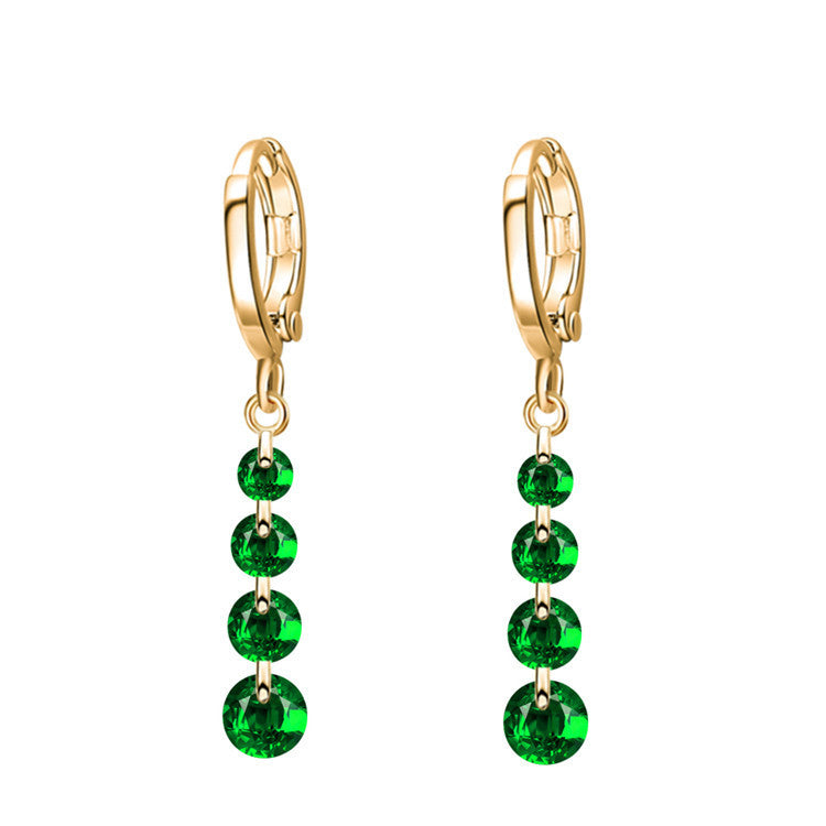 Dropship Gold Plated Crystal Earring  Pendant Drop Earrings 22K100