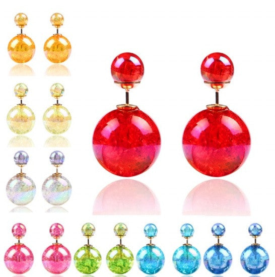 Double Beads Stud Earrings