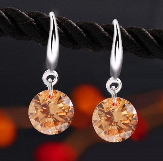 White Gold Shining Zircon Earrings