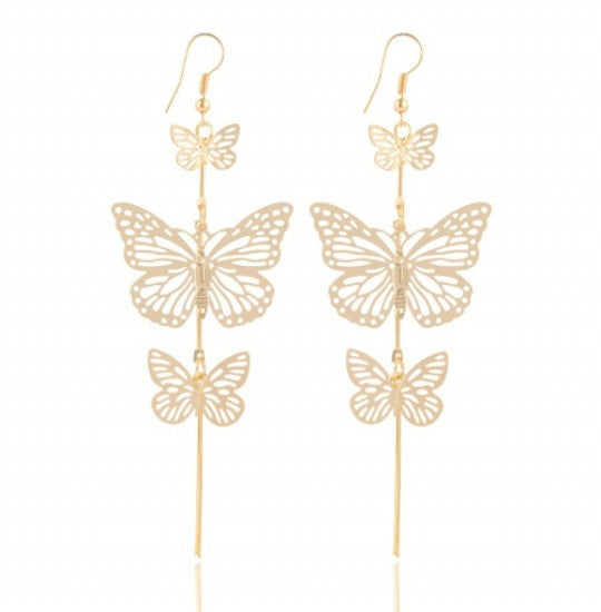 Double bow Butterfly drop earrings