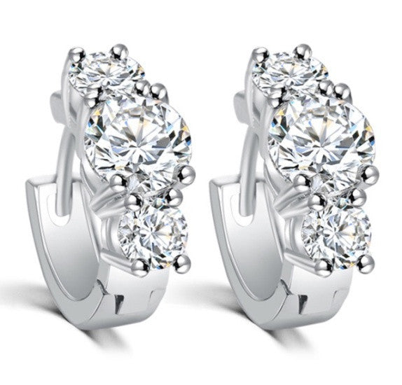 Luxury Plating 18K Platinum  Crystal Zircon Earrings