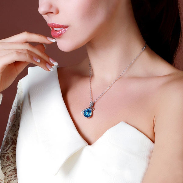 Fashion Blue Crystal Water Drop Pendant Necklace Rhodium Plated Zircon Necklaces & Pendants For Women (Jewelora NE100982)