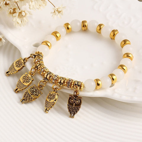 Summer Style Good Luck Owl Bracelet Charm Beads Bracelets Trendy Classic Jewelry White 62H58