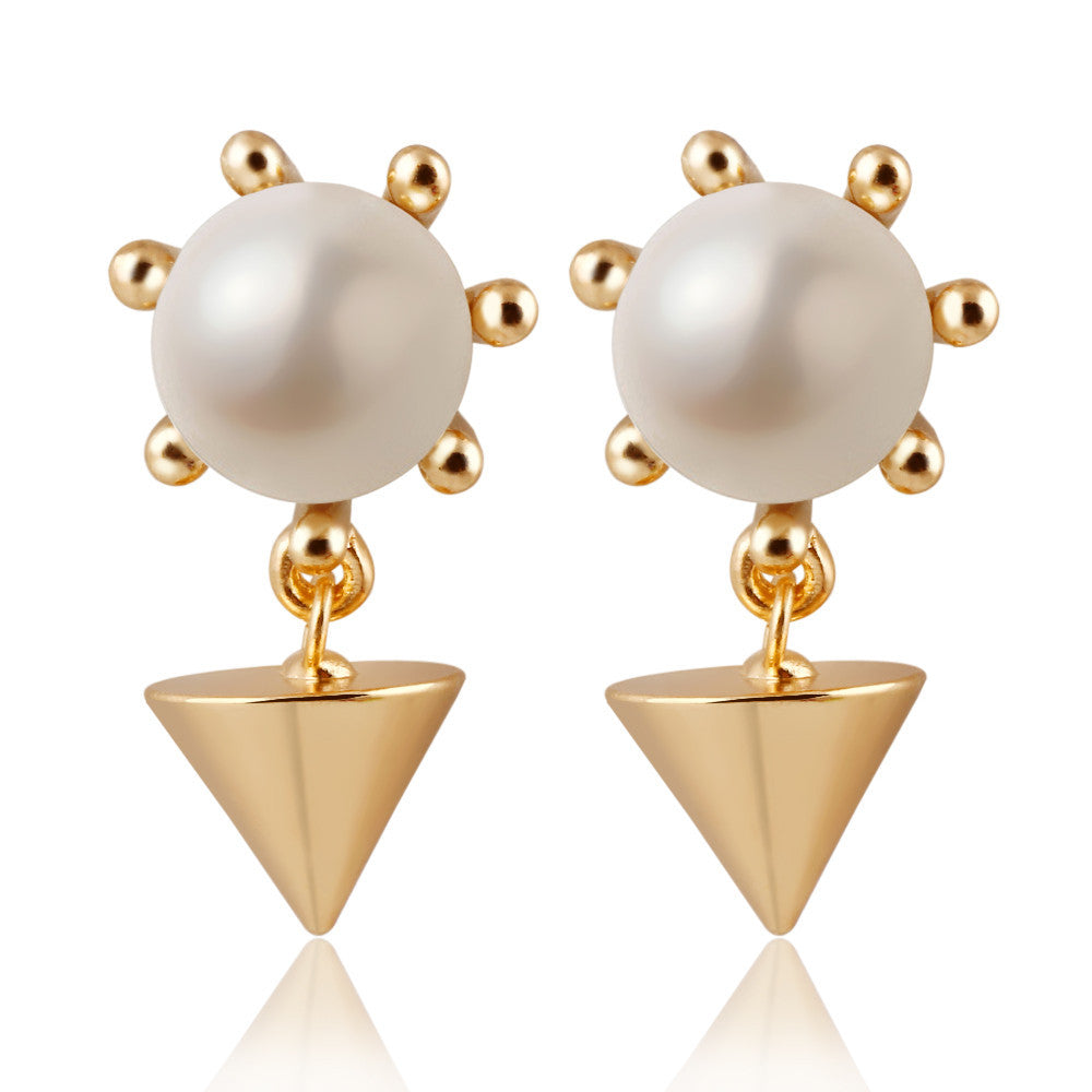 Classic Geometric Spike Alloy Stud Earrings simulated Pearl Fine Jewelry Earrings Women Trendy Design Best Gift CS11 12D19