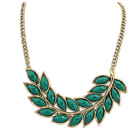 Hot Fashion Crystal Necklace Women Bib Statement Collar Chain Vintage Bohemian leaves pendant & necklace X-403
