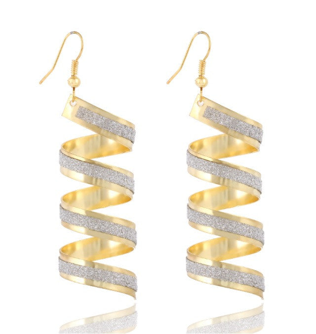 Gold/Silver Big Spiral Pendant Earrings
