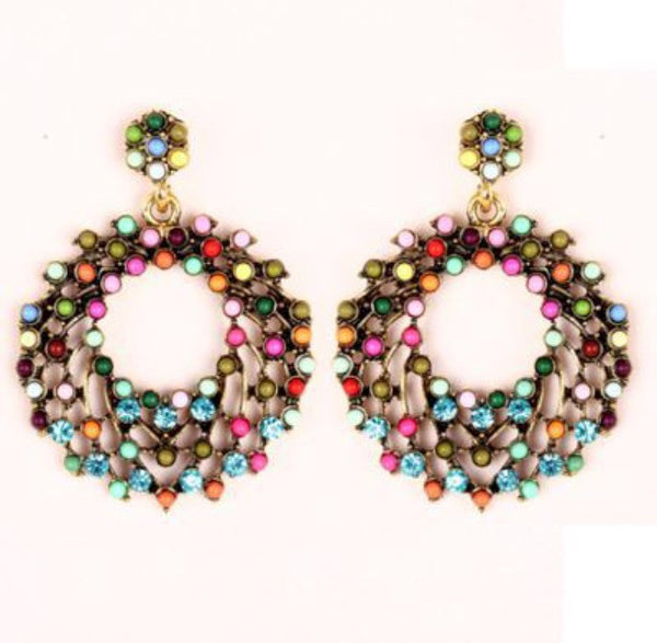 Colorful Bohemia Luxury Romantic Round Beads Earrings