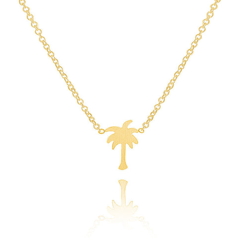 Christmas Gift Collares Choker Coconut Tree Stainless Steel Gold Palm Tree Pendant Necklaces for Women Men