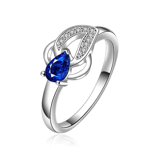 Fashion Silver plated blue stone wish Ring