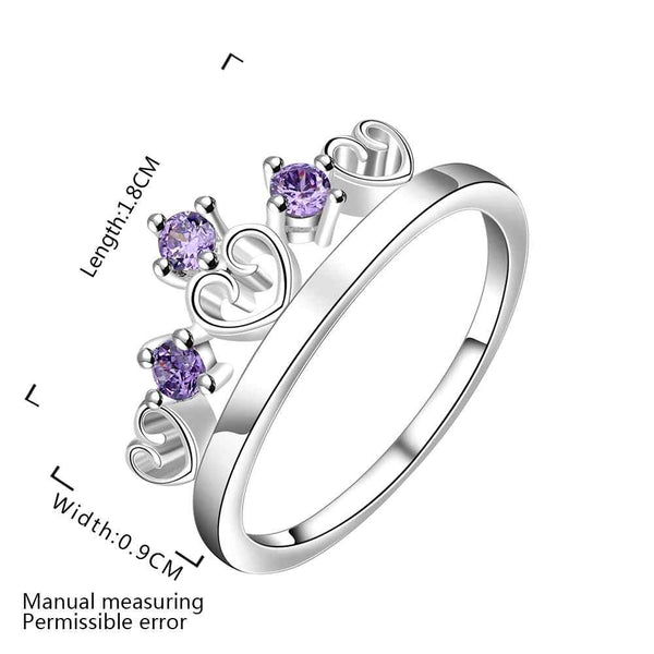 NEW Arrivel 2016 USA EURO Style Fashion Silver plated crown 3 stone blue Ring
