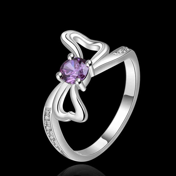 Fashion  Silver plated  purple bow sed Ring