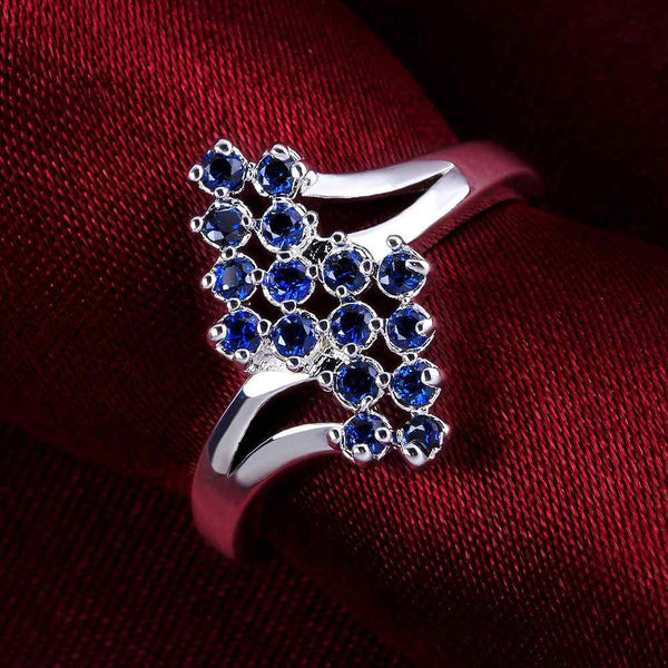 NEW arrival 2016 USA EURO Style Fashion Silver plated leaf  blue Ring