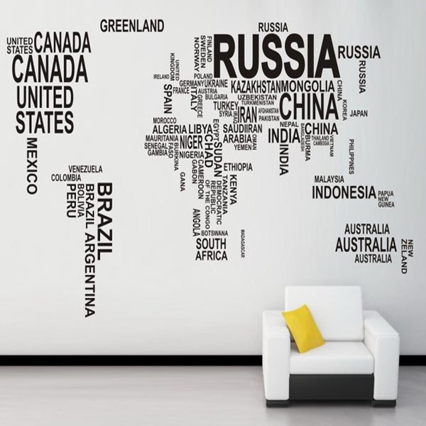 Wall decor dailymodern minimal world map word collage gumiabroncs Images