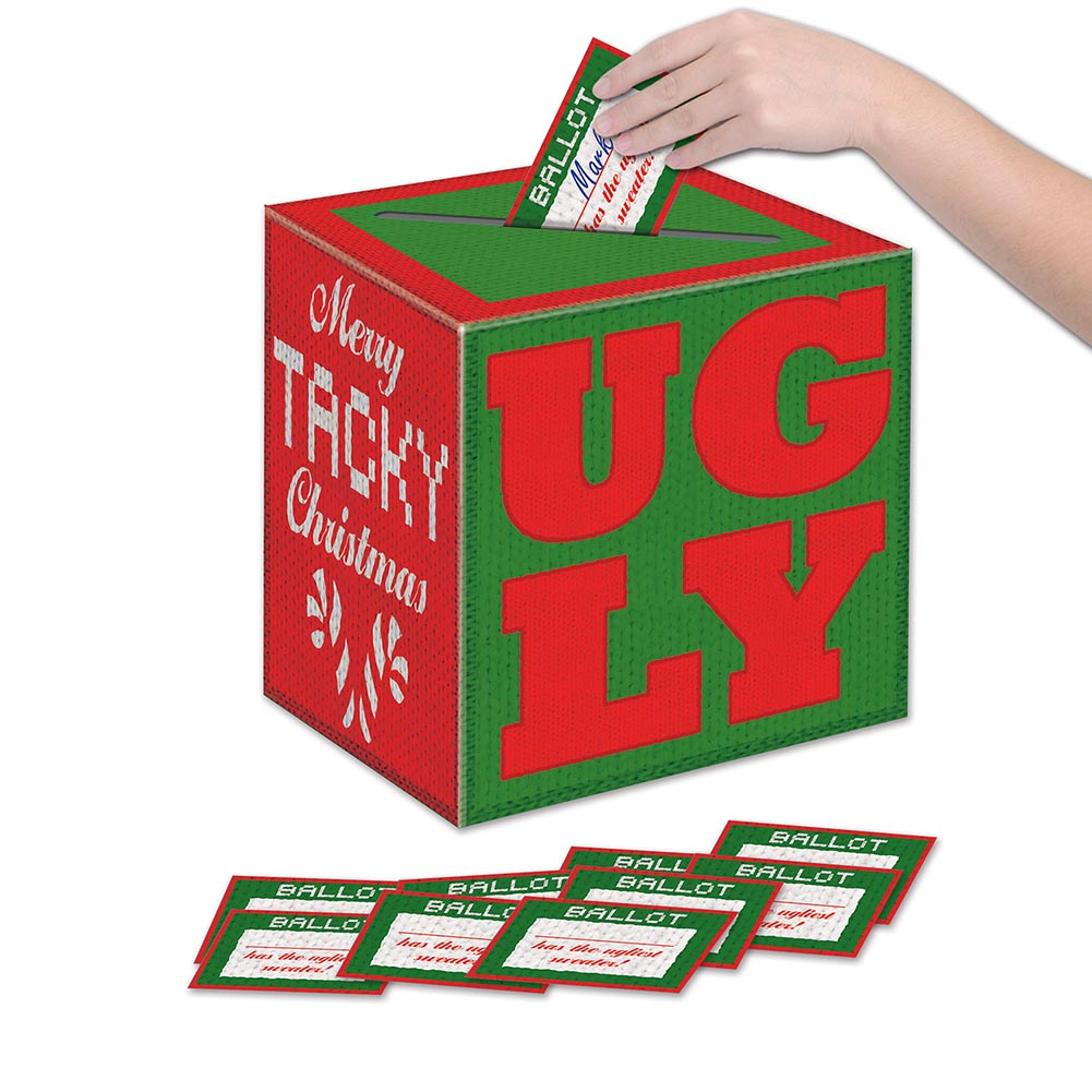 Ugly Christmas Sweater Ballot Box with Ballots