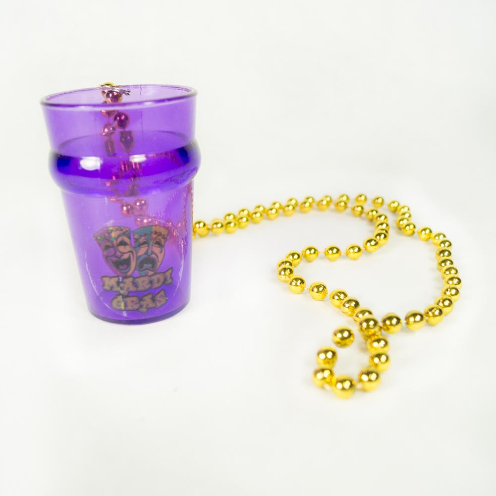 Mardi Gras Mask 2.5 oz. Shot Glass Beads