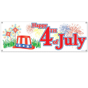 "Plastic ""Happy 4th of July"" Banner"