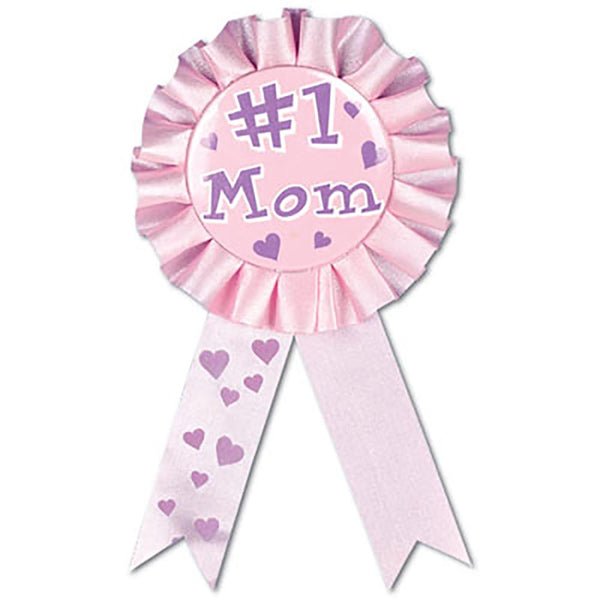 #1 Mom Award Rosette Ribbon Button