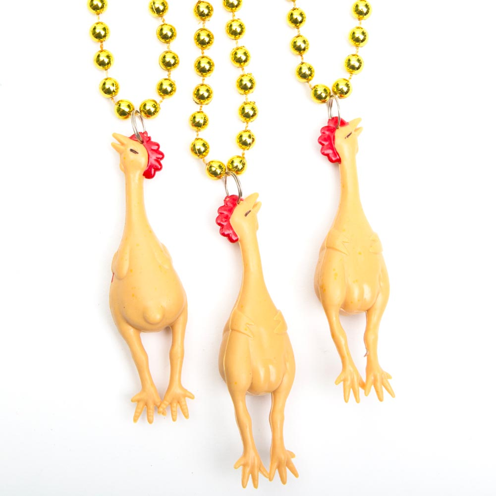 Chicken Mardi Gras Beads (Pack of 12)