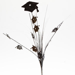 Black Grad Glitter Cap Centerpiece Sprays -pkg/12