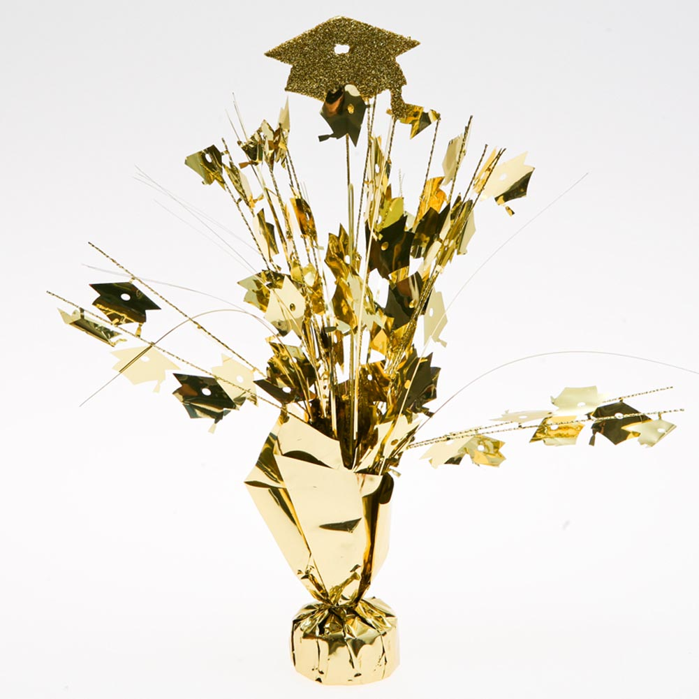 Gold Graduation Cap Centerpieces -pkg/6