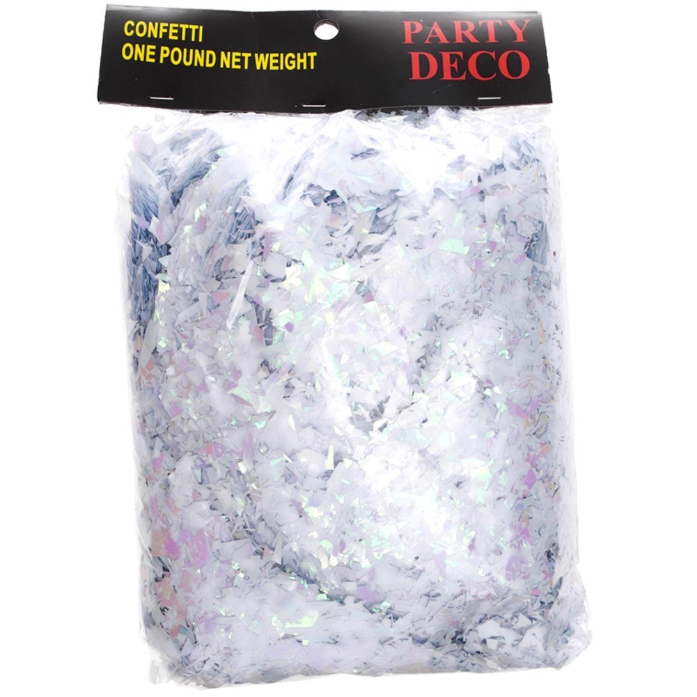 1 LB White and Iridescent Confetti
