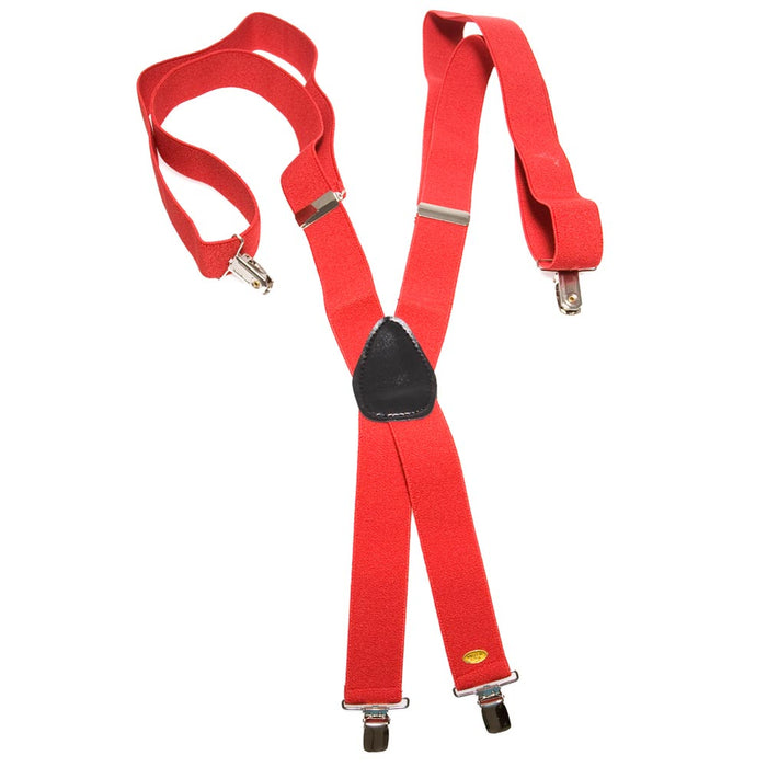 Red Clip On Suspenders