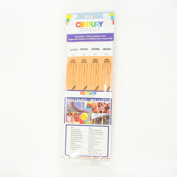 100 Orange Field Trip Tyvek Security Wristbands