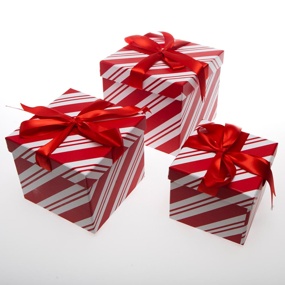 3 Piece Candy Cane Gift Boxes